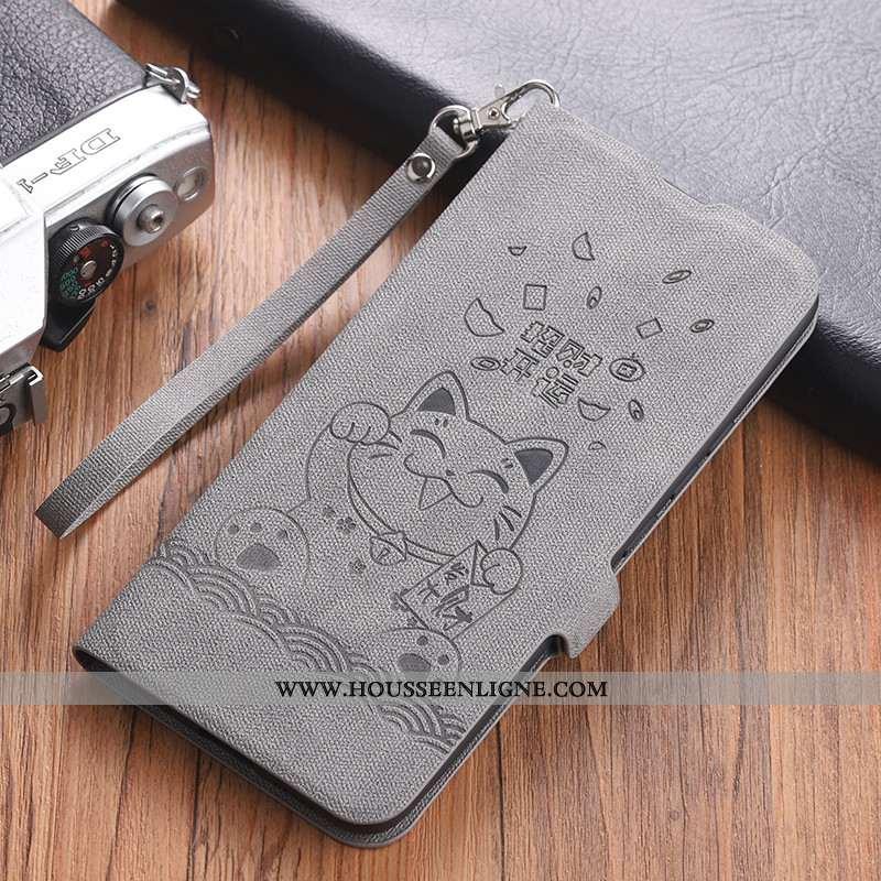Étui Xiaomi Mi 10 Cuir Modèle Fleurie Ornements Suspendus Téléphone Portable Coque Chat Clamshell Gr