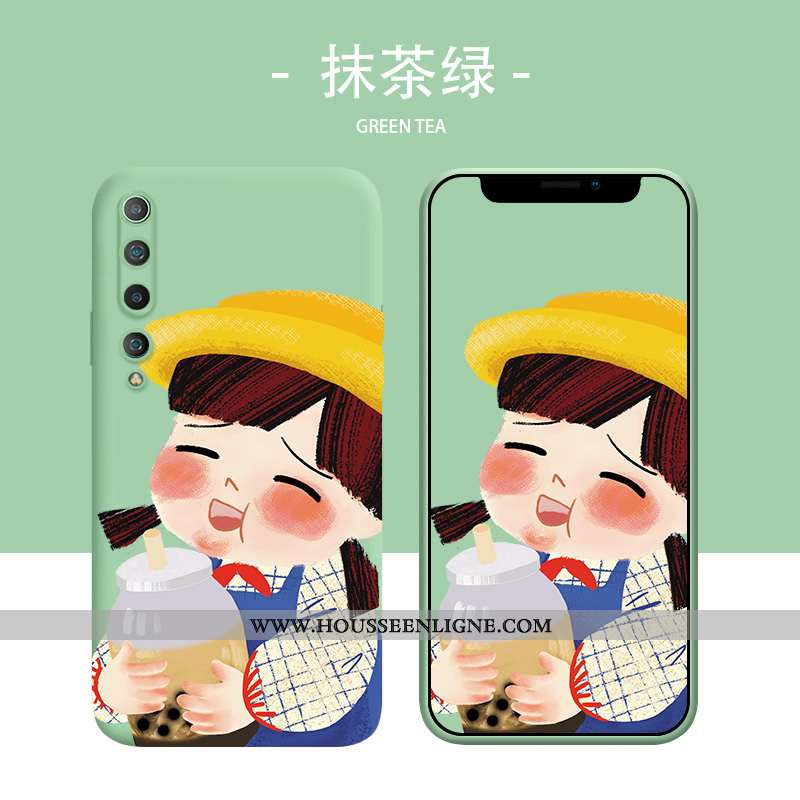 Étui Xiaomi Mi 10 Fluide Doux Silicone Vert Charmant Coque Rouge Petit Verte
