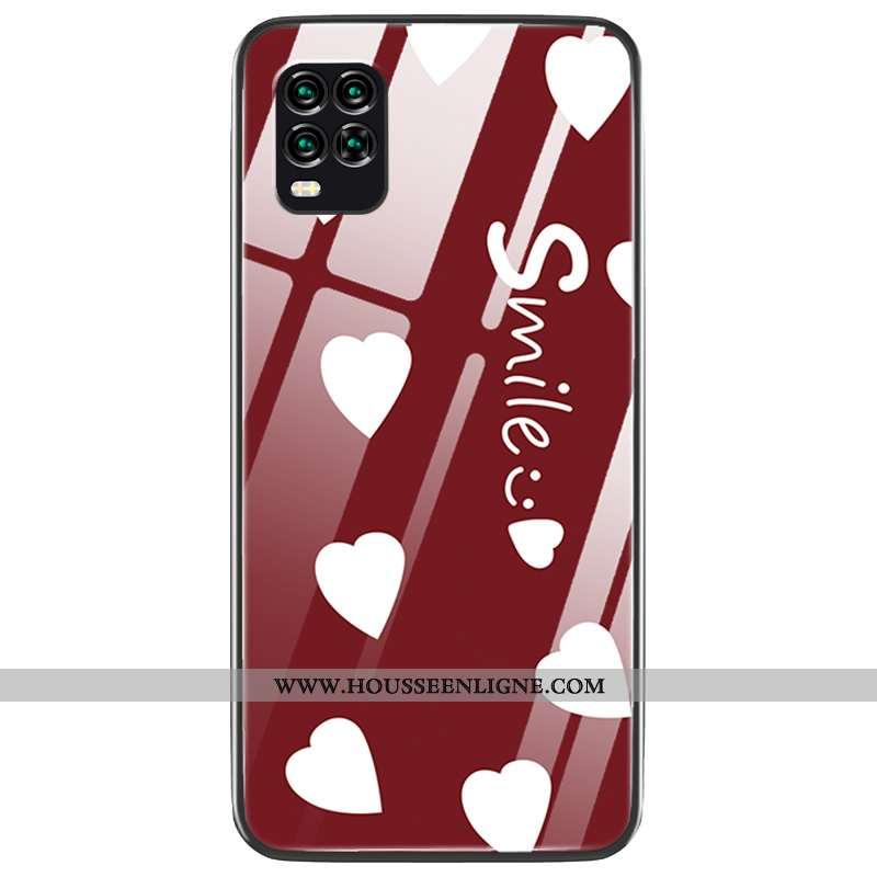 Étui Xiaomi Mi 10 Lite Créatif Charmant Difficile Téléphone Portable Amoureux Verre Coque Bordeaux