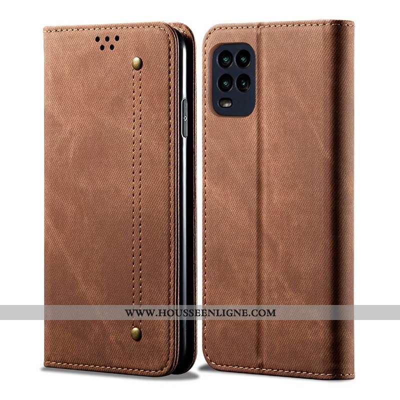 Étui Xiaomi Mi 10 Lite Cuir Protection Housse Tout Compris Carte Coque Business Marron