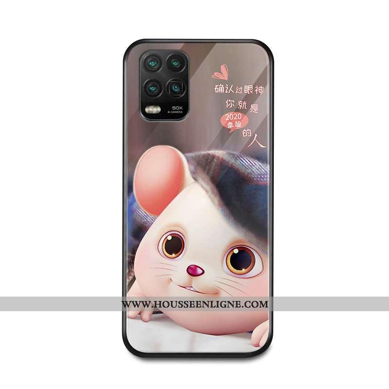 Étui Xiaomi Mi 10 Lite Protection Verre Coque Membrane Net Rouge Tout Compris Marron