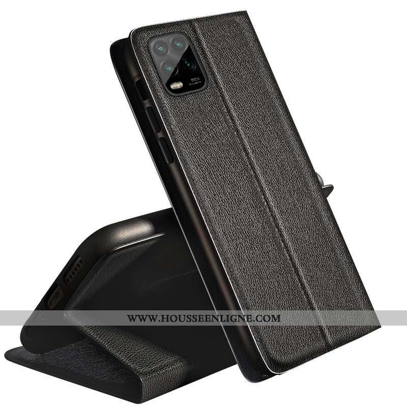 Étui Xiaomi Mi 10 Lite Silicone Protection Tendance Petit Fluide Doux Personnalité Cuir Noir