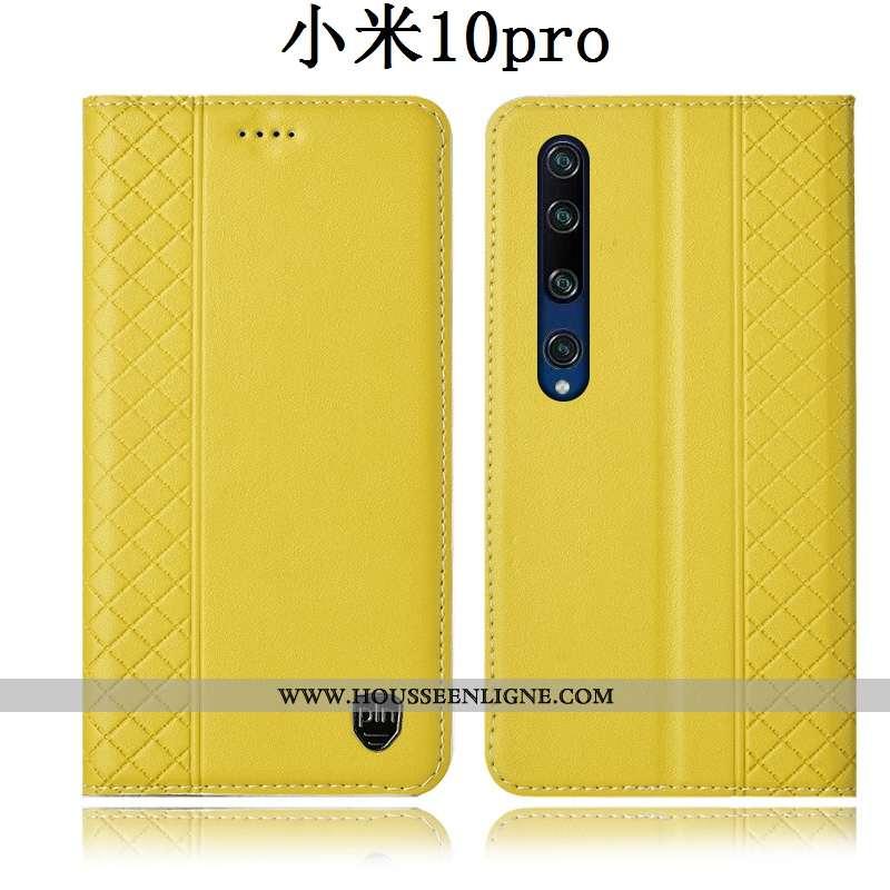 Étui Xiaomi Mi 10 Pro Protection Cuir Véritable Petit Housse Téléphone Portable Jeunesse Jaune