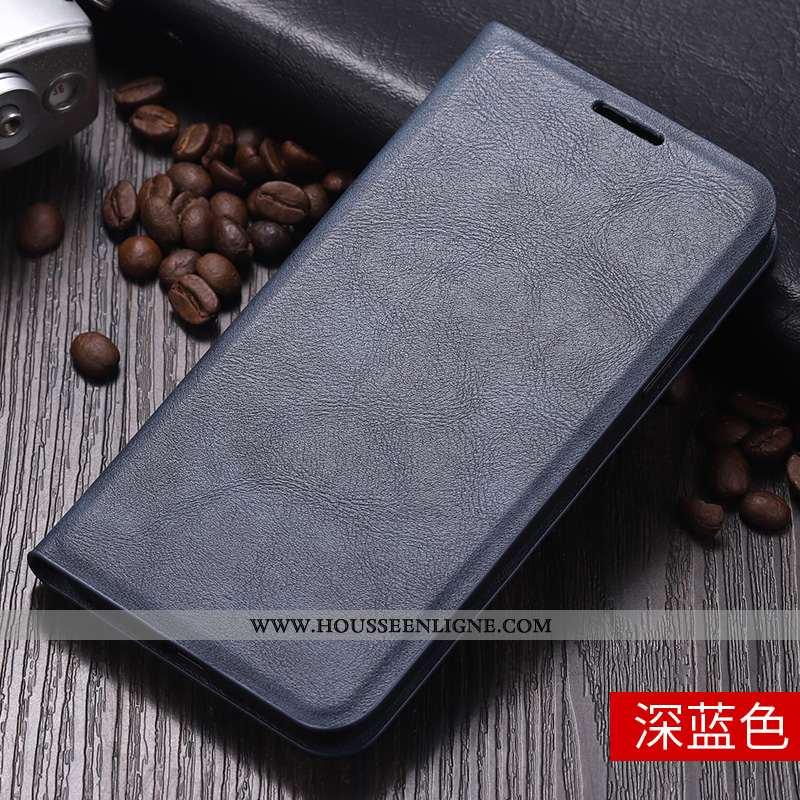 Étui Xiaomi Mi 10 Pro Protection Personnalité Incassable Petit Carte Cuir Tout Compris Bleu Foncé