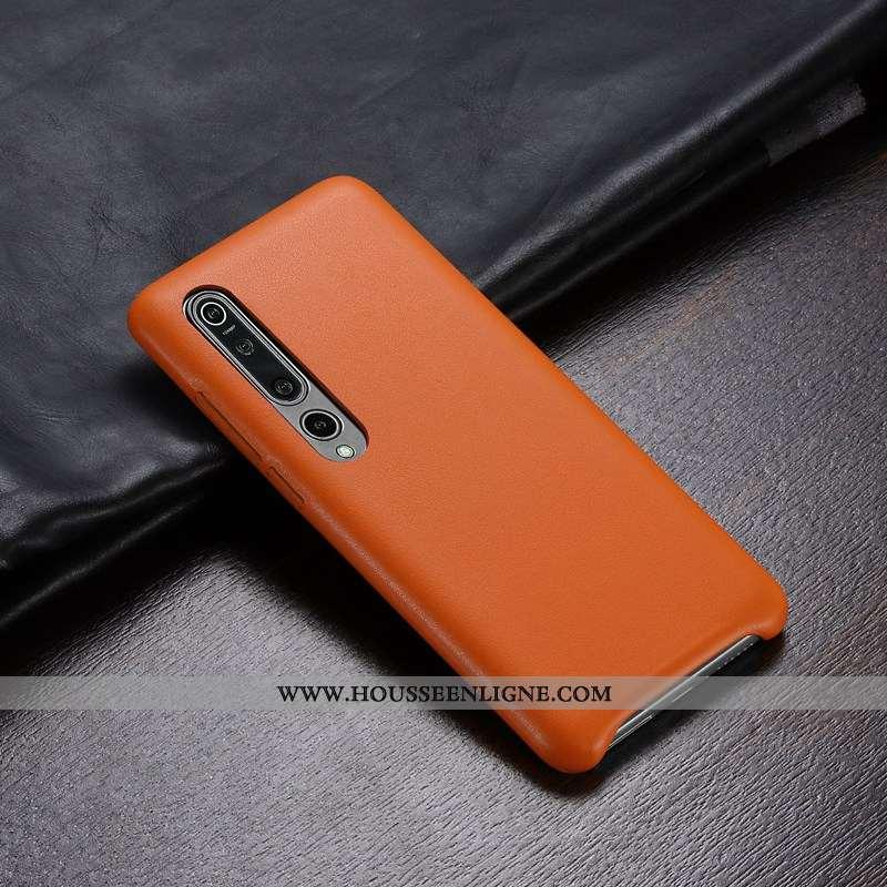 Étui Xiaomi Mi 10 Pro Ultra Légère Personnalité Protection Coque Cuir Orange