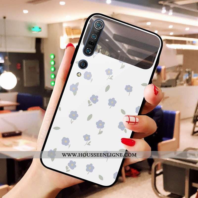 Étui Xiaomi Mi 10 Verre Art Cœur Maquillage Rouge Miroir Fleurs Blanche