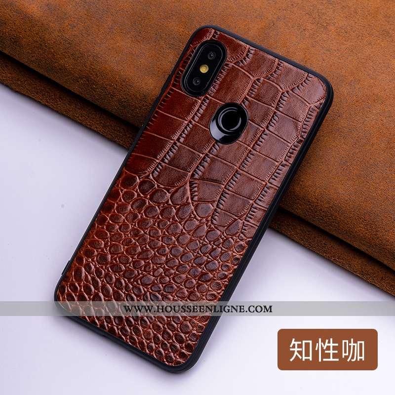 Étui Xiaomi Mi 8 Cuir Protection Incassable Tendance Personnalité Difficile Tout Compris Marron