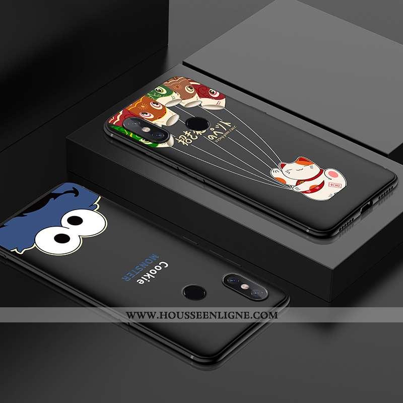 Étui Xiaomi Mi 8 Délavé En Daim Personnalité Créatif Simple Incassable Jeunesse Modèle Fleurie Noir