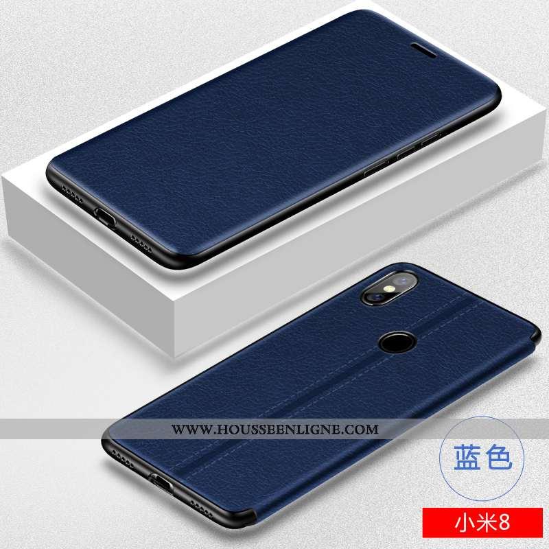 Étui Xiaomi Mi 8 Légère Cuir Téléphone Portable Créatif Modèle Fleurie Petit Tout Compris Bleu