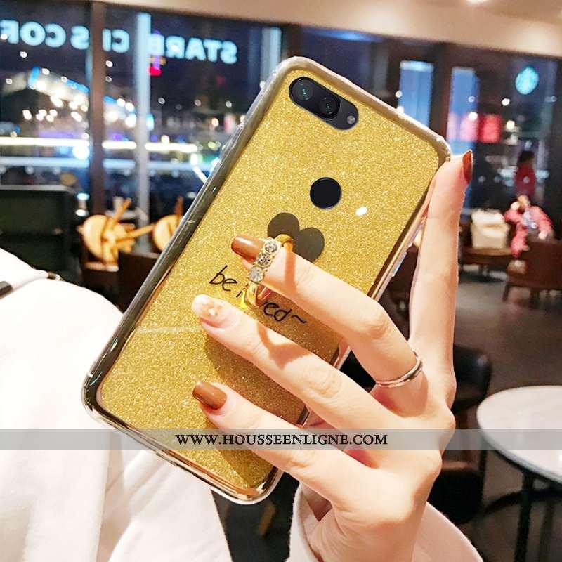Étui Xiaomi Mi 8 Lite Protection Tendance Anneau Rose Tout Compris Coque Simple Jaune