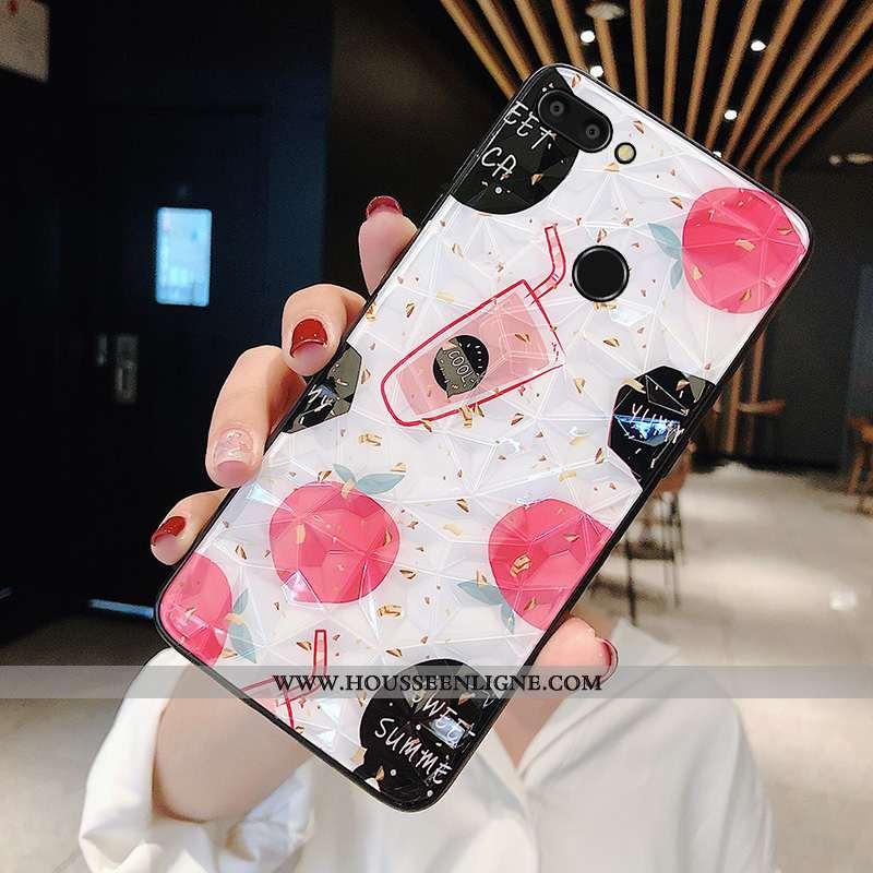 Étui Xiaomi Mi 8 Lite Protection Verre Petit Personnalité Membrane Bleu Tempérer Rose