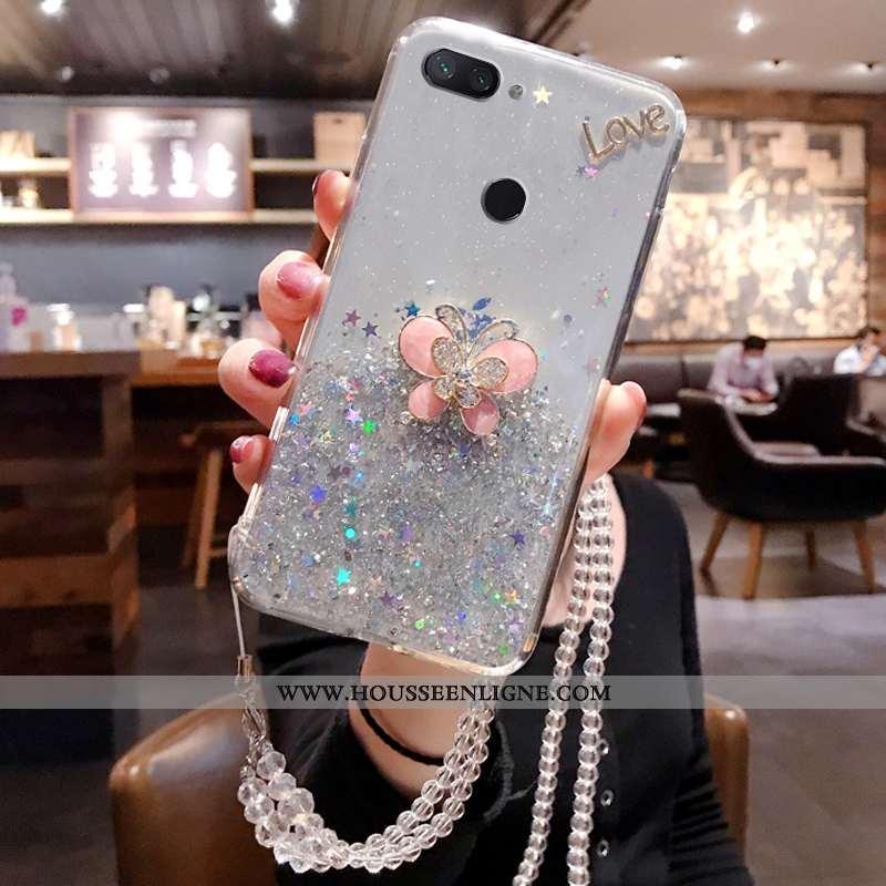 Étui Xiaomi Mi 8 Lite Silicone Incruster Strass Jeunesse Argent Petit Téléphone Portable Nouveau