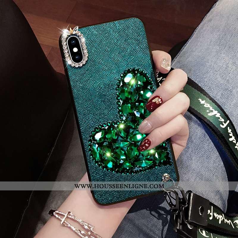Étui Xiaomi Mi 8 Pro Fluide Doux Incruster Strass Petit Ornements Suspendus Cou Suspendu Strass Vert