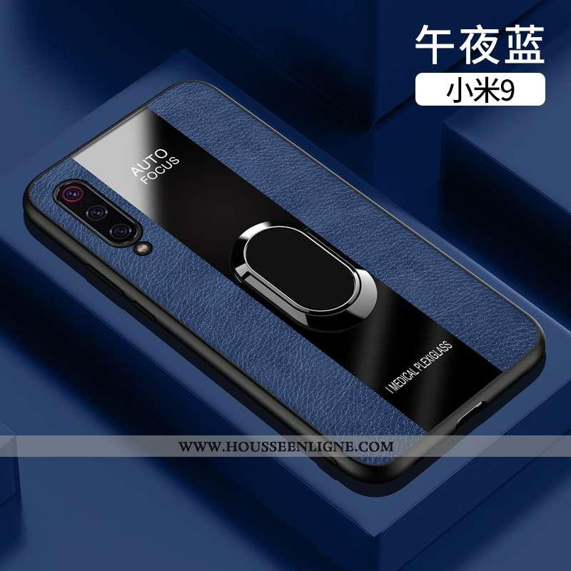 Étui Xiaomi Mi 9 Cuir Fluide Doux Coque Verre Téléphone Portable Business Bleu