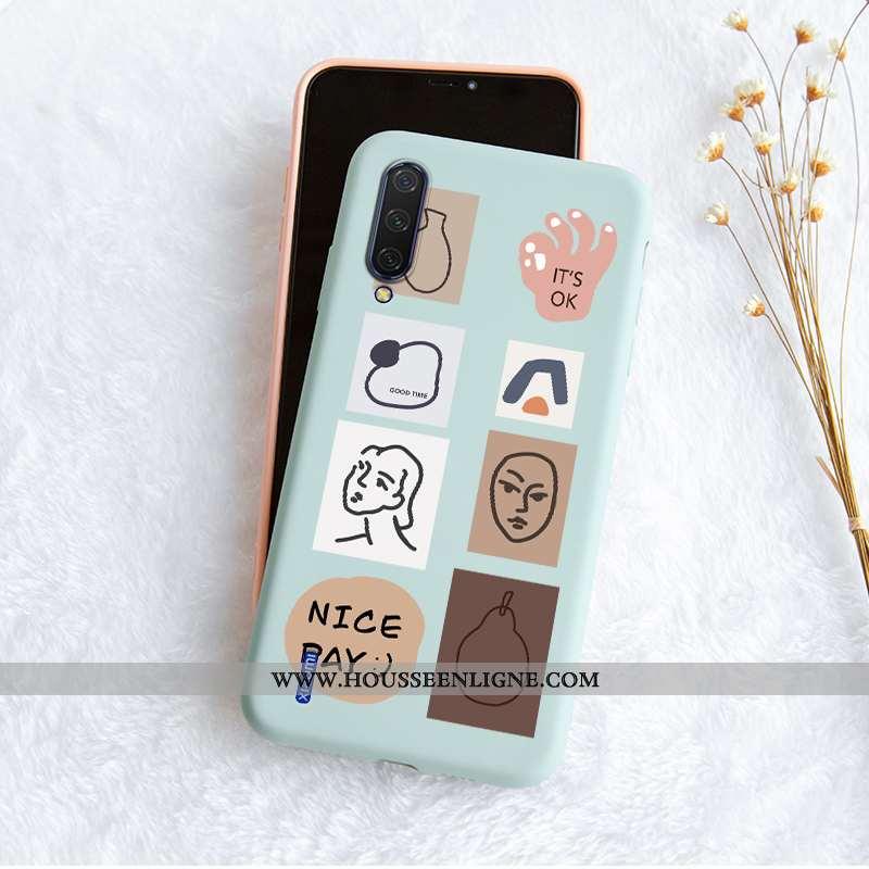 Étui Xiaomi Mi 9 Fluide Doux Silicone Personnalité Petit Simple Protection Bleu