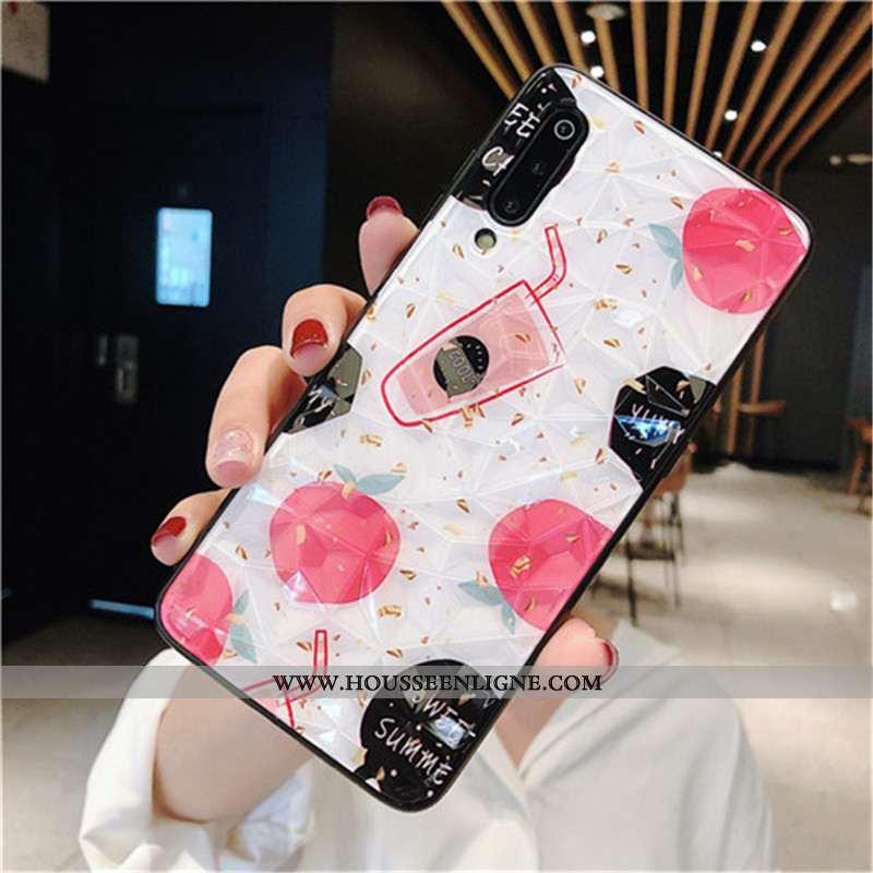 Étui Xiaomi Mi 9 Lite Coque En Silicone Protection Point D'onde Créatif Rouge Losange Blanche