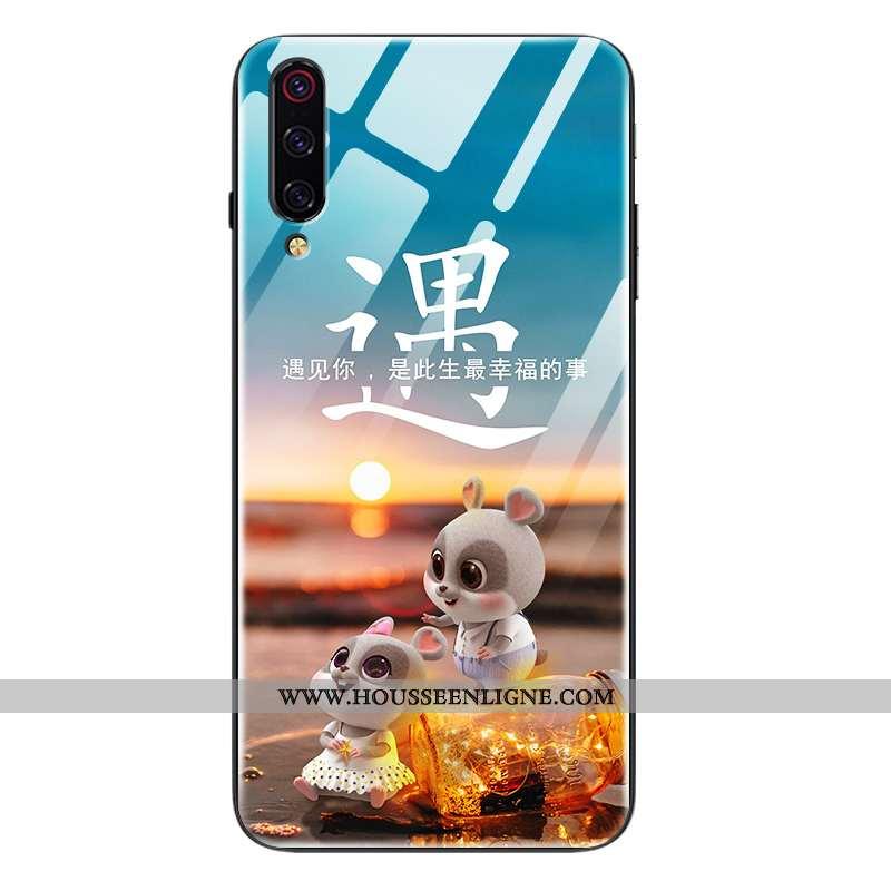 Étui Xiaomi Mi 9 Lite Créatif Dessin Animé Protection Légère Verre Ultra Bleu