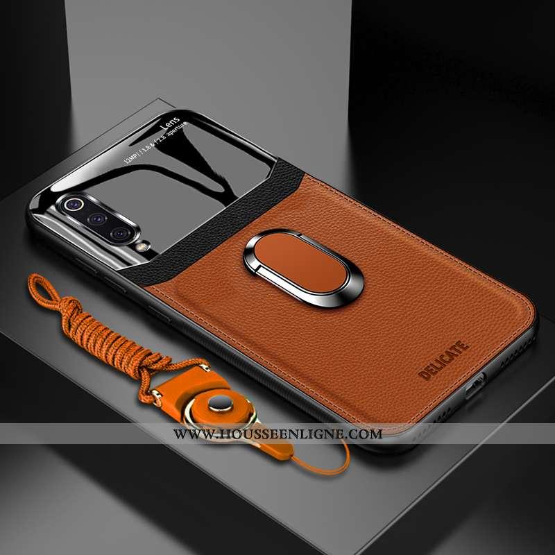 Étui Xiaomi Mi 9 Lite Protection Verre Anneau Personnalisé Incassable Téléphone Portable Marron