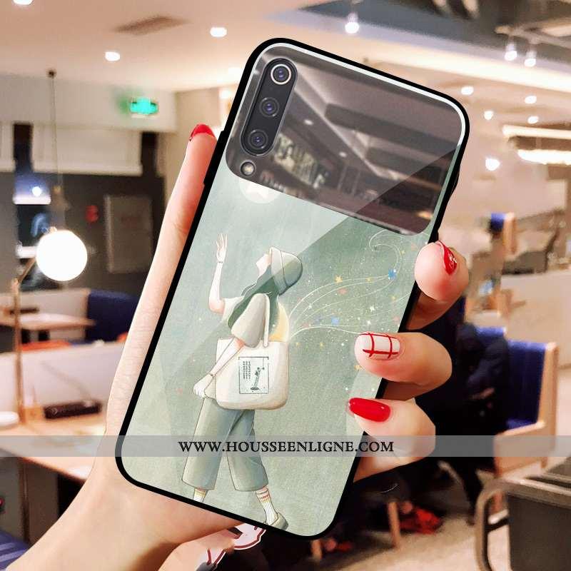 Étui Xiaomi Mi 9 Se Charmant Verre Téléphone Portable Frais Miroir Maquillage Coque Verte