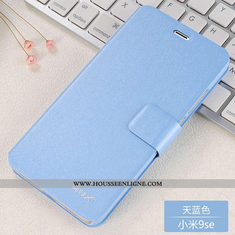 Étui Xiaomi Mi 9 Se Cuir Fluide Doux Tout Compris Téléphone Portable Modèle Coque Bleu