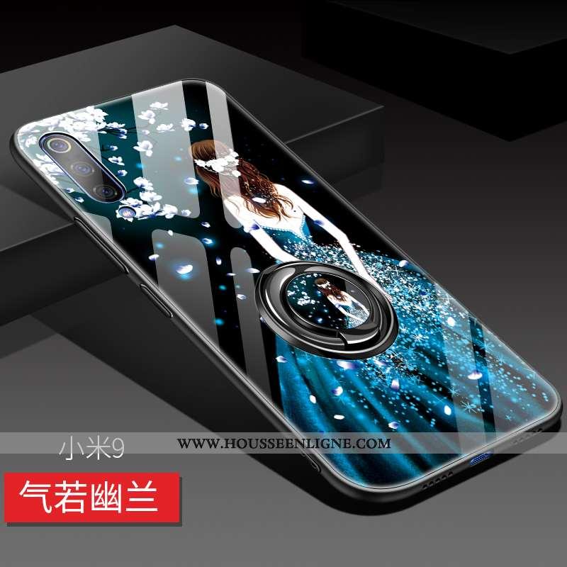 Étui Xiaomi Mi 9 Verre Délavé En Daim Tendance Créatif Petit Personnalité Incassable Bleu