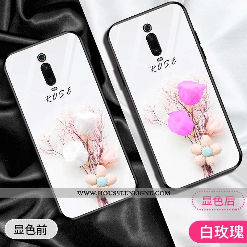 Étui Xiaomi Mi 9t Pro Tendance Mode Protection Blanc Verre Rouge Téléphone Portable Blanche
