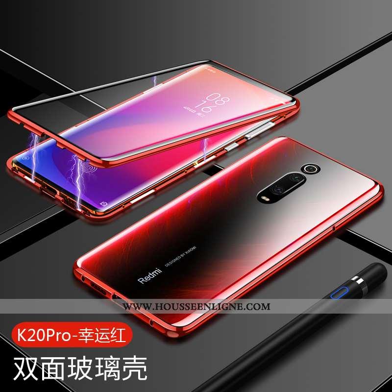 Étui Xiaomi Mi 9t Verre Transparent Métal Incassable Téléphone Portable Petit Personnalité Rouge