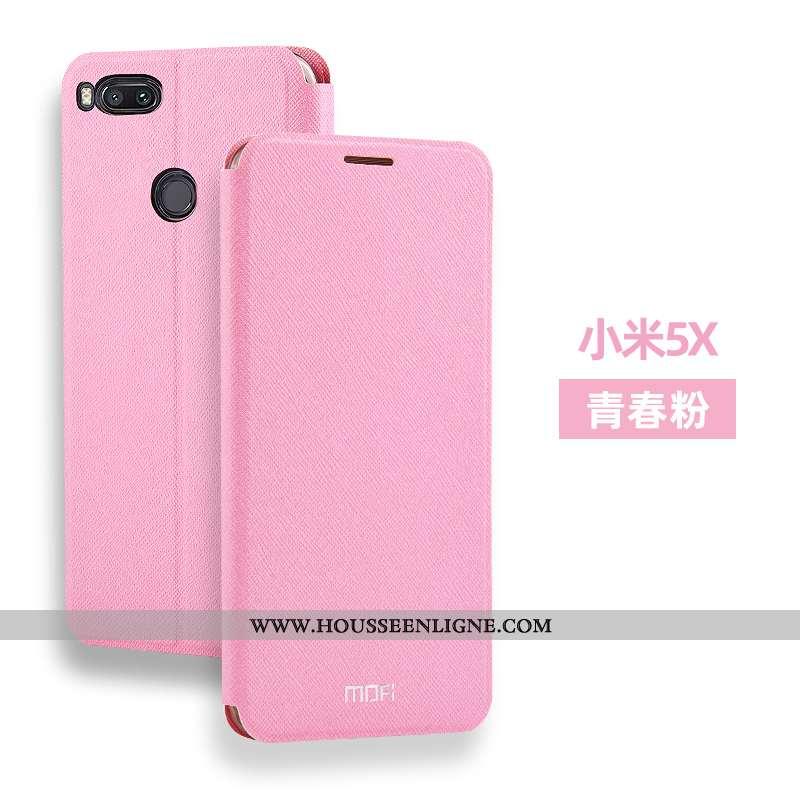 Étui Xiaomi Mi A1 Cuir Fluide Doux Silicone Clamshell Rose Incassable Tout Compris