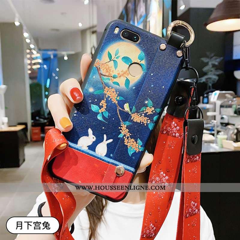 Étui Xiaomi Mi A1 Délavé En Daim Ornements Suspendus Simple Bleu Vintage Protection