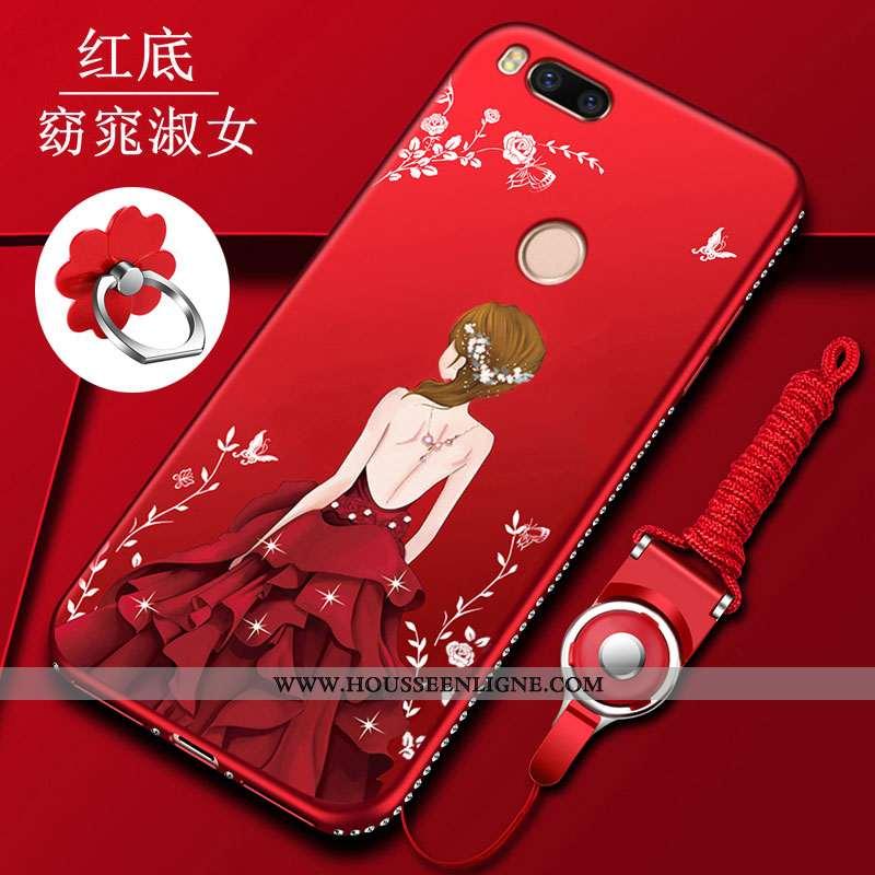 Étui Xiaomi Mi A1 Fluide Doux Silicone Coque Tout Compris Incassable Petit Rouge