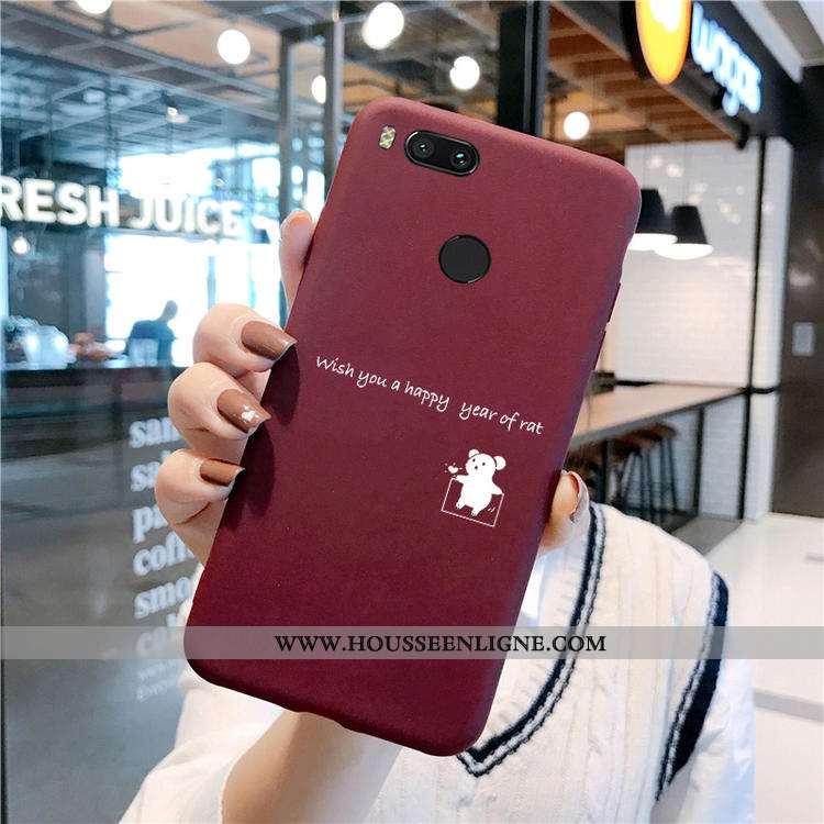 Étui Xiaomi Mi A1 Mode Protection Vin Rouge Coque Fluide Doux Silicone Ornements Suspendus Bordeaux