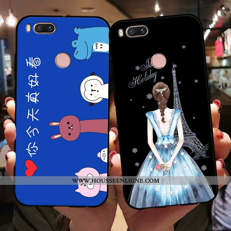 Étui Xiaomi Mi A1 Silicone Protection Coque Délavé En Daim Incassable Bleu Petit