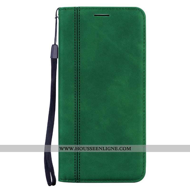 Étui Xiaomi Mi A2 Lite Cuir Délavé En Daim Business Incassable Vert Petit Téléphone Portable Verte