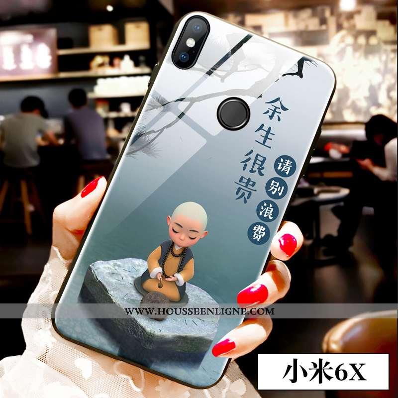 Étui Xiaomi Mi A2 Verre Dessin Animé Coque Charmant Jeunesse Téléphone Portable Tout Compris Bleu