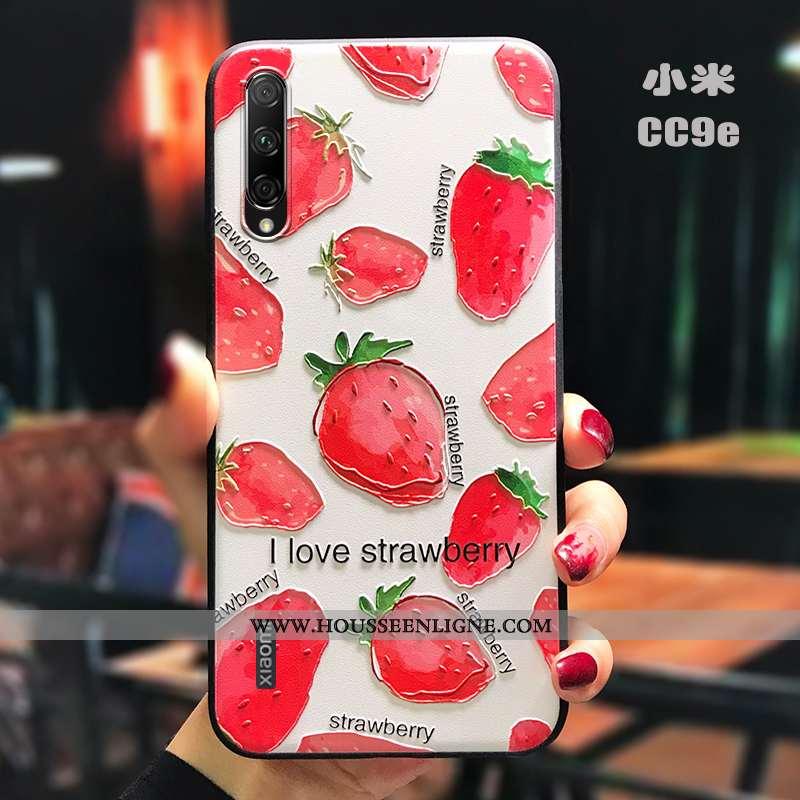 Étui Xiaomi Mi A3 Légère Fluide Doux Silicone Délavé En Daim Créatif Dimensionnel Rouge