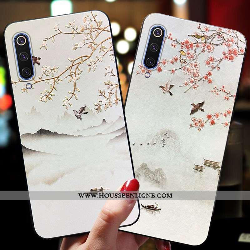 Étui Xiaomi Mi A3 Ornements Suspendus Gaufrage Petit Vintage Vent Rose Net Rouge