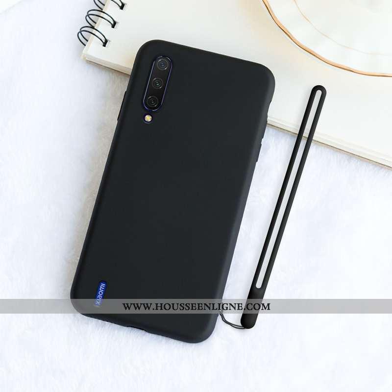 Étui Xiaomi Mi A3 Silicone Protection Délavé En Daim Incassable Ornements Suspendus Simple Noir