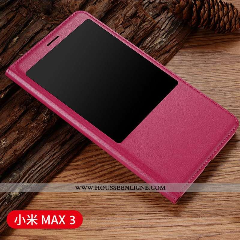 Étui Xiaomi Mi Max 3 Cuir Protection Vin Rouge Coque Housse Petit Téléphone Portable Bordeaux