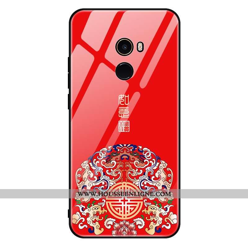 Étui Xiaomi Mi Mix 2 Verre Délavé En Daim Net Rouge Tout Compris Protection Tempérer