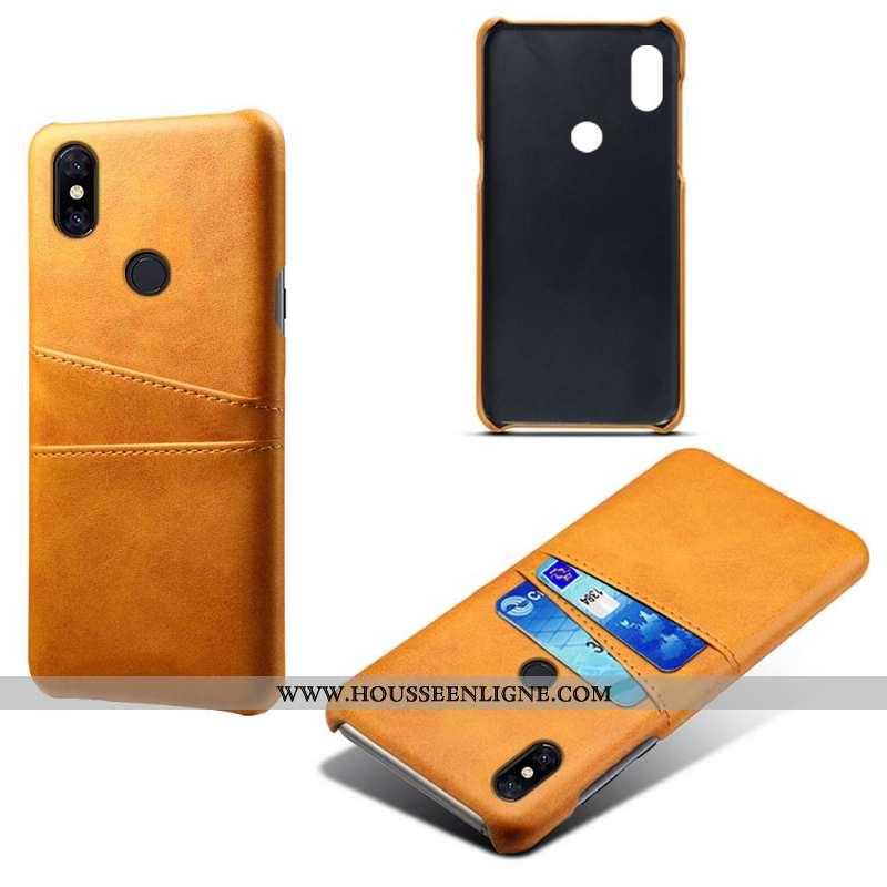 Étui Xiaomi Mi Mix 2s Cuir Protection Incassable Business Jaune Téléphone Portable Carte