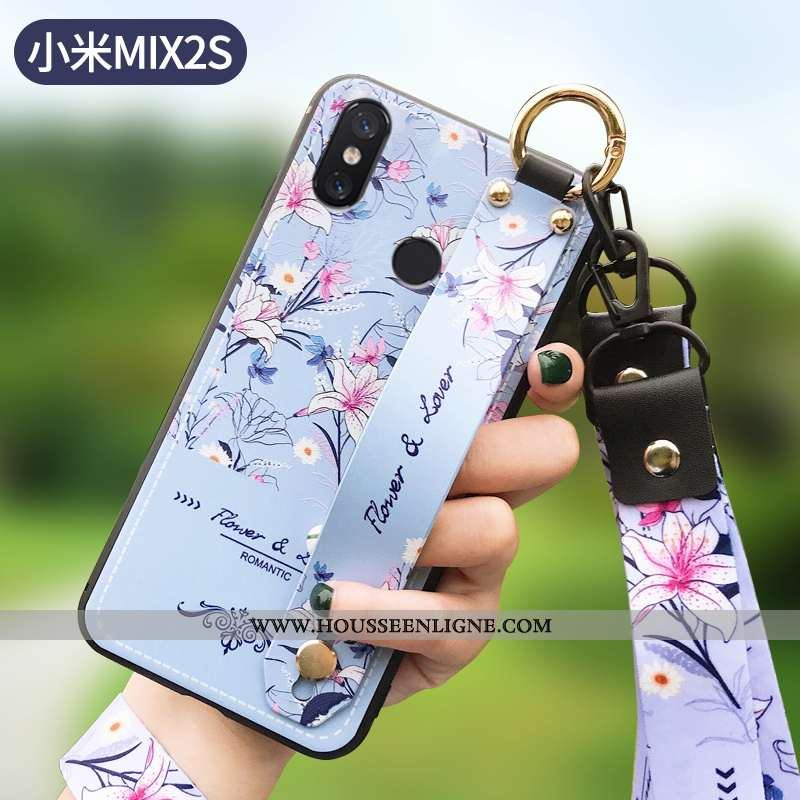 Étui Xiaomi Mi Mix 2s Mode Protection Silicone Net Rouge Légère Fleur Tout Compris Bleu