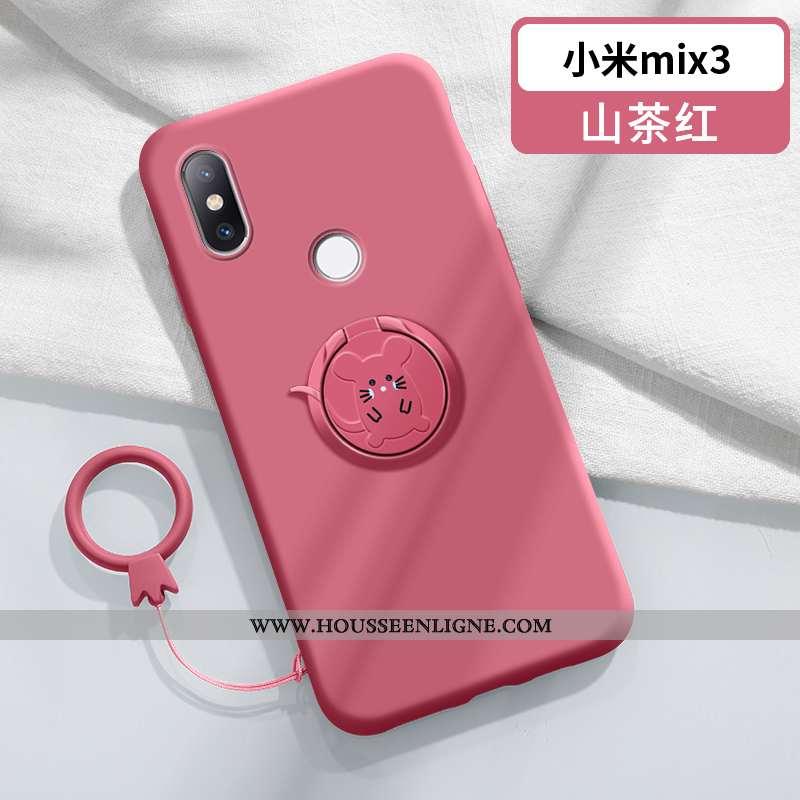 Étui Xiaomi Mi Mix 3 Fluide Doux Silicone Anneau Ultra Support Charmant Personnalité Rouge