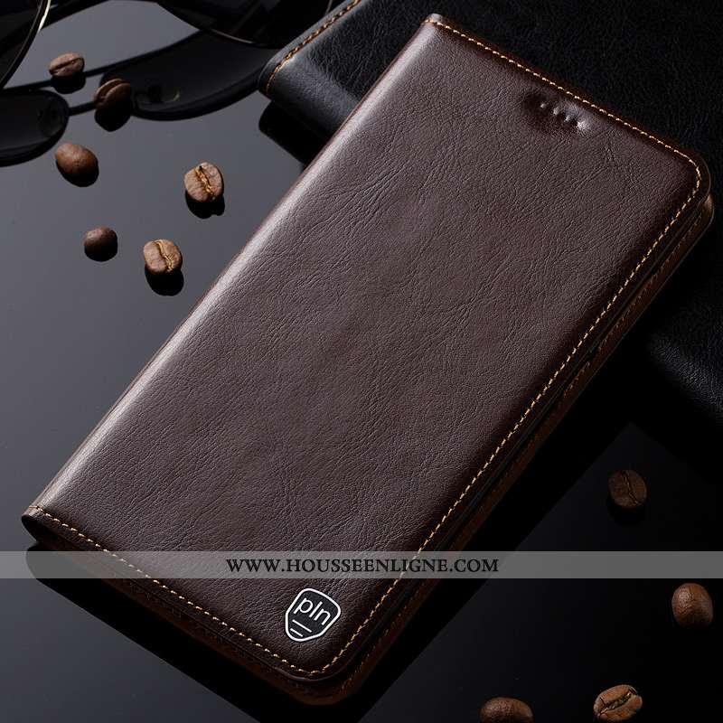 Étui Xiaomi Mi Mix 3 Protection Cuir Véritable Housse Modèle Fleurie Coque Petit Marron