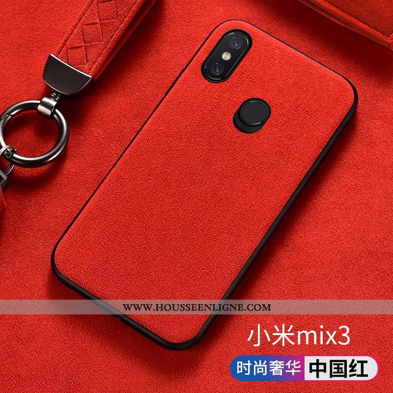 Étui Xiaomi Mi Mix 3 Protection Daim Fourrure Rouge Tout Compris Petit Antidérapant