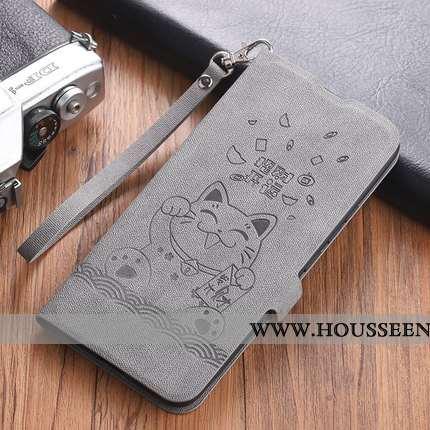 Étui Xiaomi Mi Mix 3 Tendance Cuir Style Chinois Incassable Rouge Téléphone Portable Petit Gris