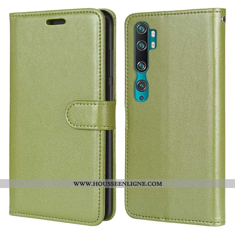 Étui Xiaomi Mi Note 10 Cuir Coque Tout Compris Téléphone Portable Clamshell Vert Verte