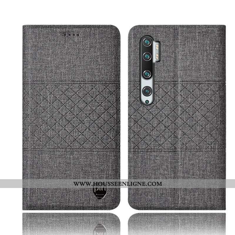 Étui Xiaomi Mi Note 10 Cuir Protection Incassable Gris Téléphone Portable Housse Lin