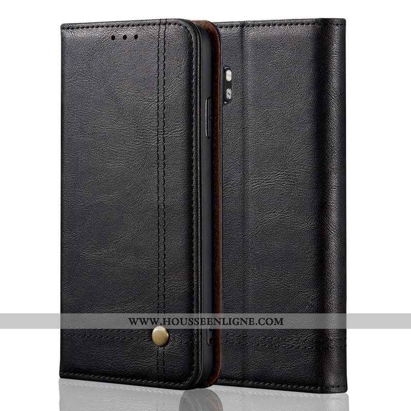 Étui Xiaomi Mi Note 10 Cuir Véritable Classic Coque Business Petit Housse Noir