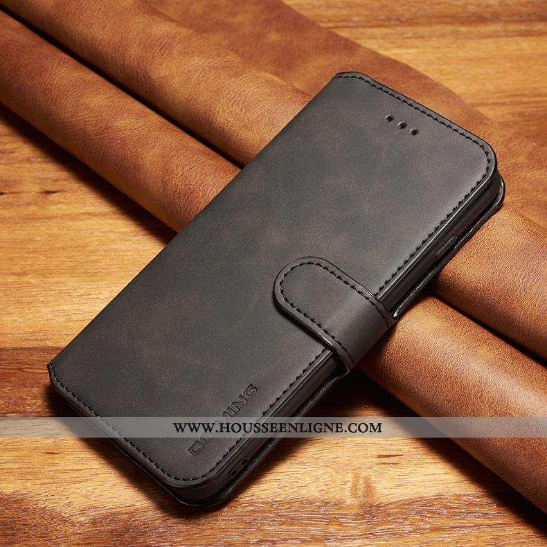 Étui Xiaomi Mi Note 10 Cuir Véritable Cuir Business Incassable Housse Petit Noir