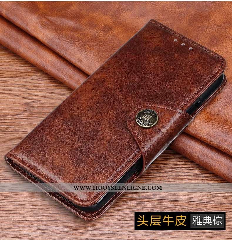 Étui Xiaomi Mi Note 10 Lite Cuir Véritable Coque Petit Clamshell Téléphone Portable Reversible Luxe